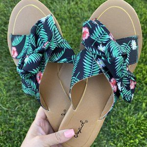 Palm Leaf Slip On Sandals